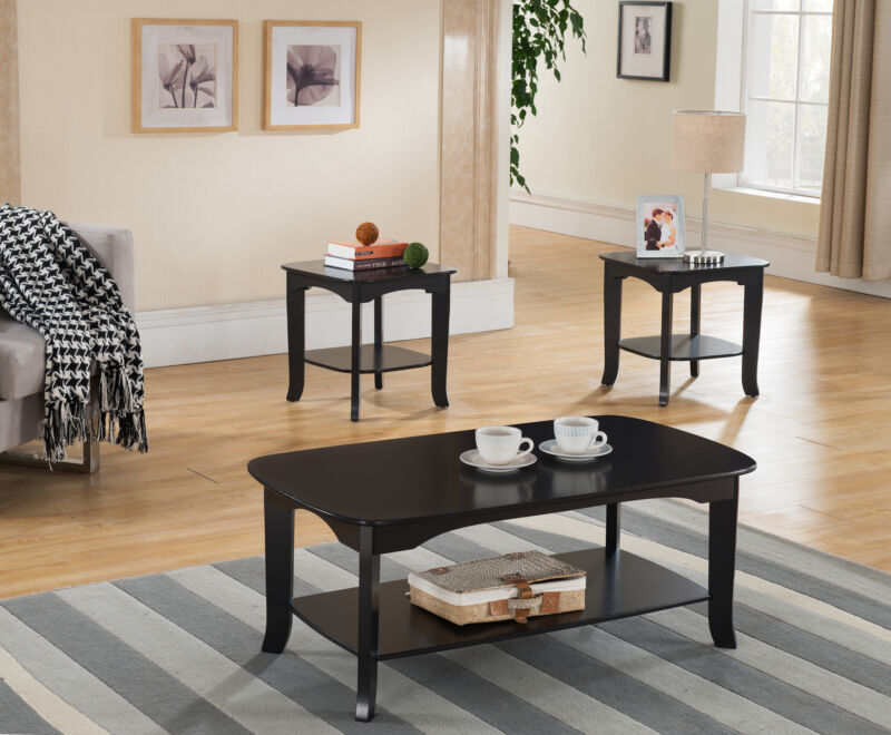 Espresso Finish Occasional Coffee Table with 2 End Tables