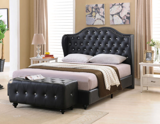 Black Tufted Design Faux Leather King Size Upholstered Platform Bed