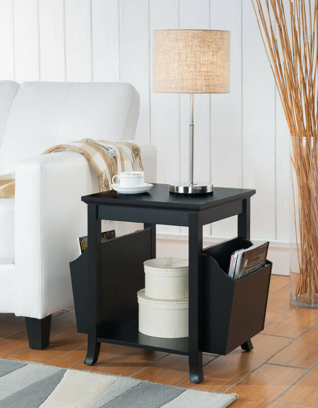 Black Finish Wood Side End Table With Magazine Rack