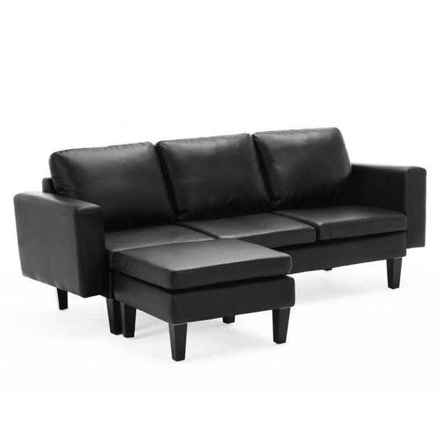Modern 2PC Configurable PU Leather Sectional Sofa Set w/ Ottoman Furniture Black