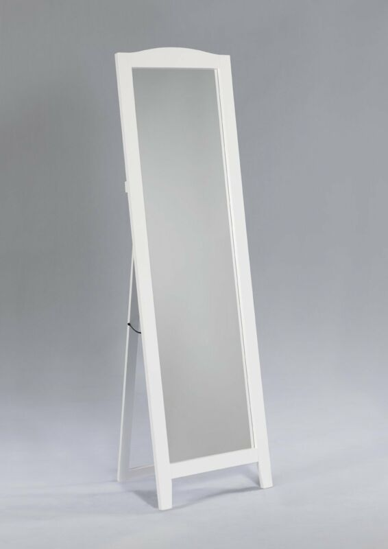 White Finish Wood Rectangle Floor Standing Mirror