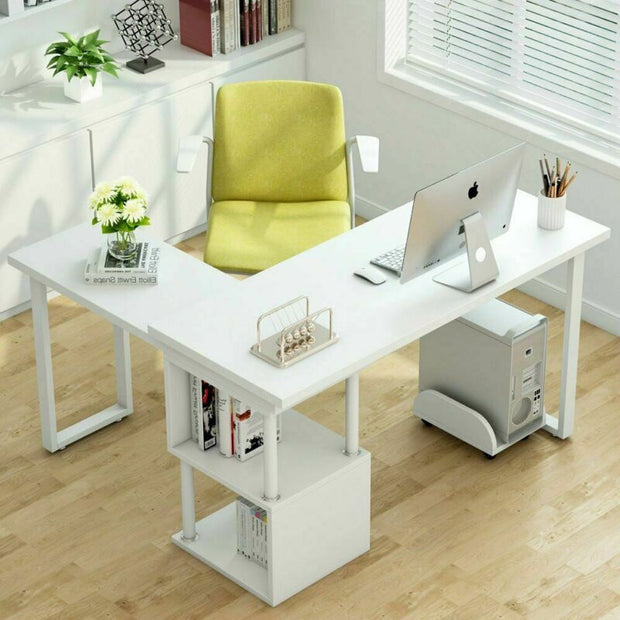 White Corner 360°Rotating L-Shape Computer Desk/Home Study/PC/Laptop Table