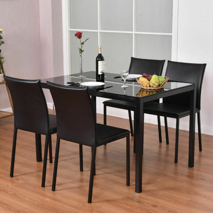 5 Piece Dining Set Glass Top Table and 4 PU Chairs