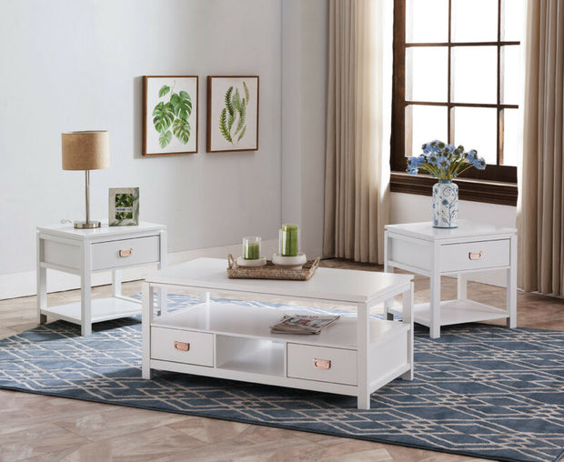 Set of 3 White Wood Storage Occasional Table, 1 Coffee Table & 2 End Tables