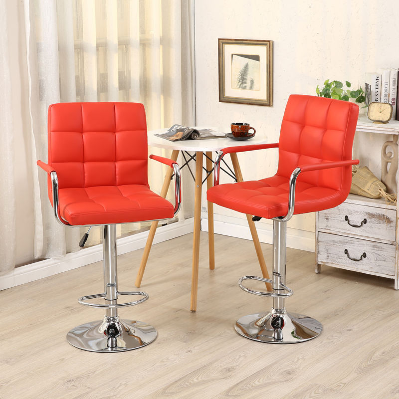 2 Pieces PU Leather Adjustable Height Swivel Bar Stool with Arms & Chrome Base