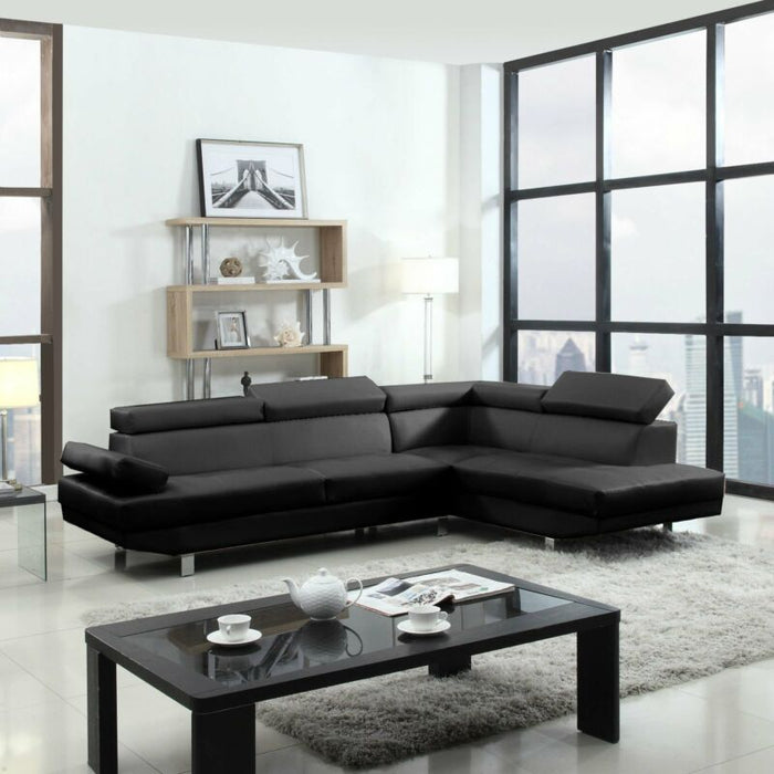 2 Piece Modern Contemporary Black Faux Leather Sectional Sofa