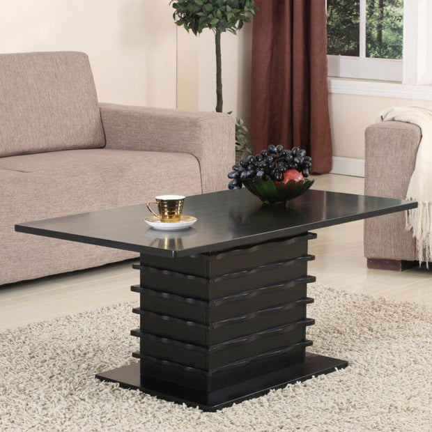 Black Finish Wood Wave Design Cocktail Coffee Table