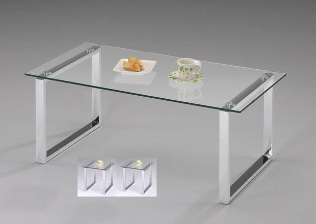 Set of 3 Modern Design Chrome Finish With Glass Top Coffee Table & 2 End Tables