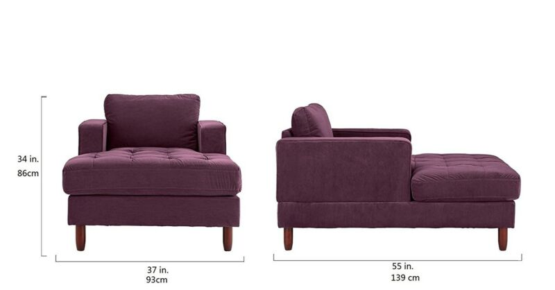 Velvet Fabric Living Room Chaise Lounge (Purple)