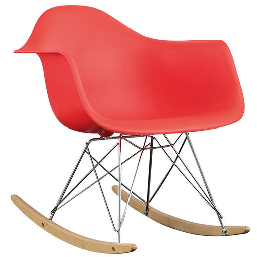 Modern Retro Design Iconic Rocker Lounge Chair in Red Molded Plastic