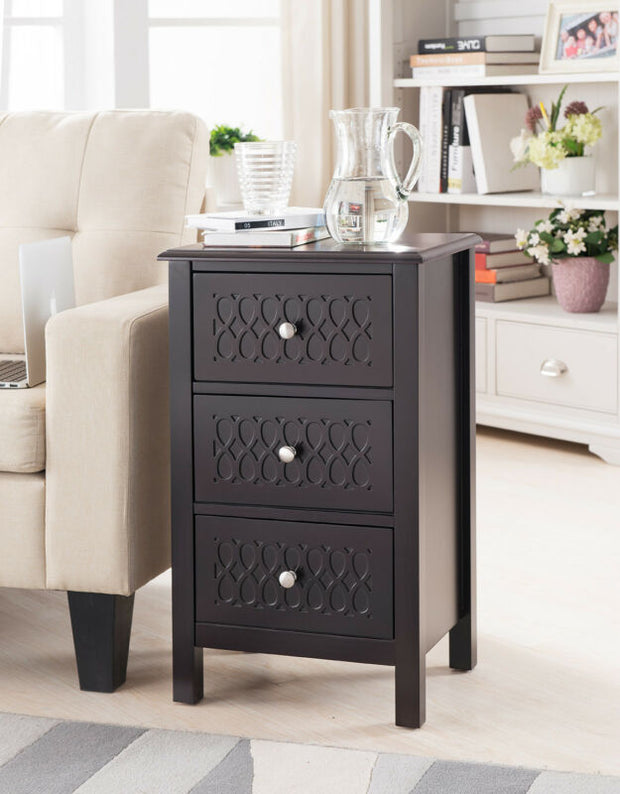 Espresso Finish Wood Accent Side End Table with Drawers