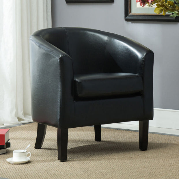 Modern Club Chair Barrel Design Accent Faux Leather Armchair