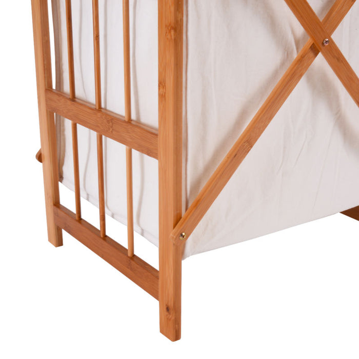 Folding Bamboo Laundry Hamper - 2 Bins - Toyzor.com