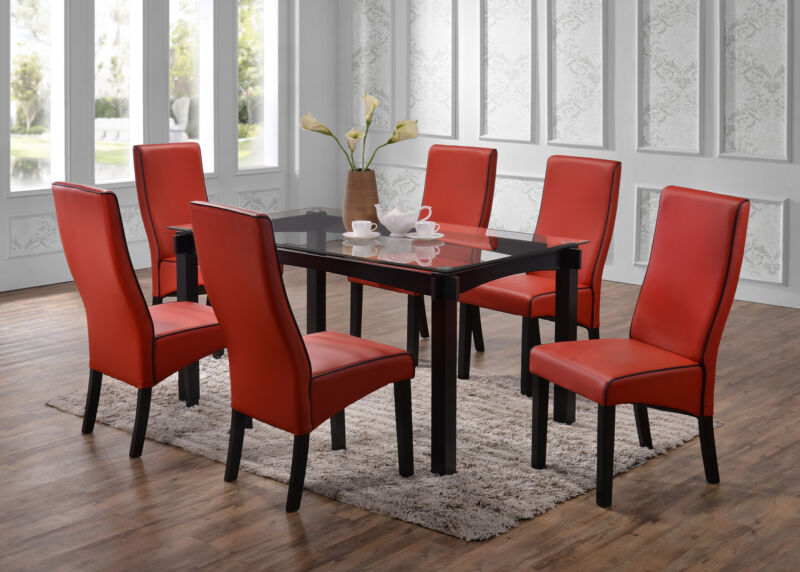 Cappuccino Wood With Glass Dining Dinette Table & 6 Chairs, Red