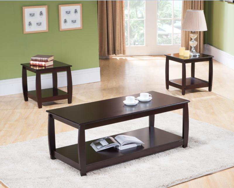 1 Cherry Finish Wood Coffee Table & 2 End Tables Occasional Set of 3