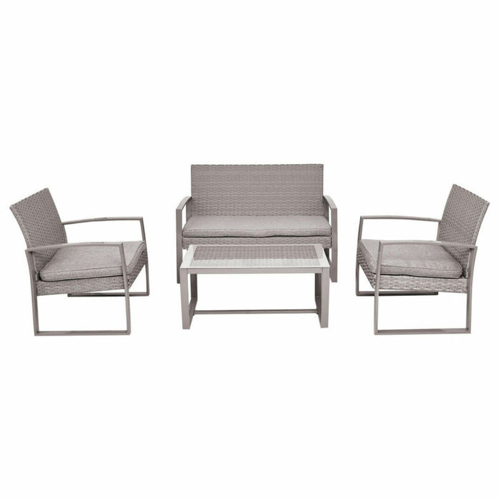 Set of 4 Gray Outdoor Patio Furniture Wicker Rattan Table Chair W/Cushions