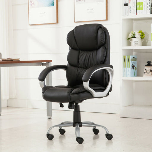 High Back PU Leather Executive Office Desk Task Chair (Black)