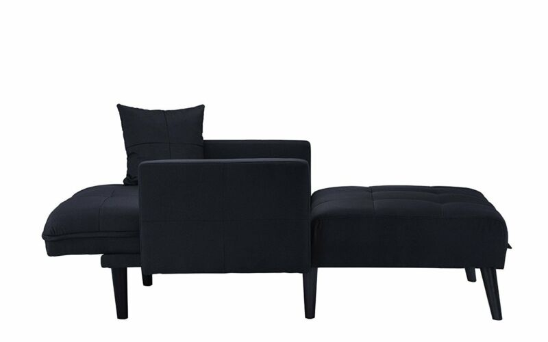 Fabric Recliner Sleeper Chaise Lounge Chair, Black