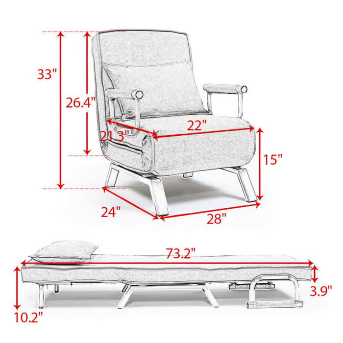 Convertible Sofa Bed Folding Arm Chair Recliner Lounger