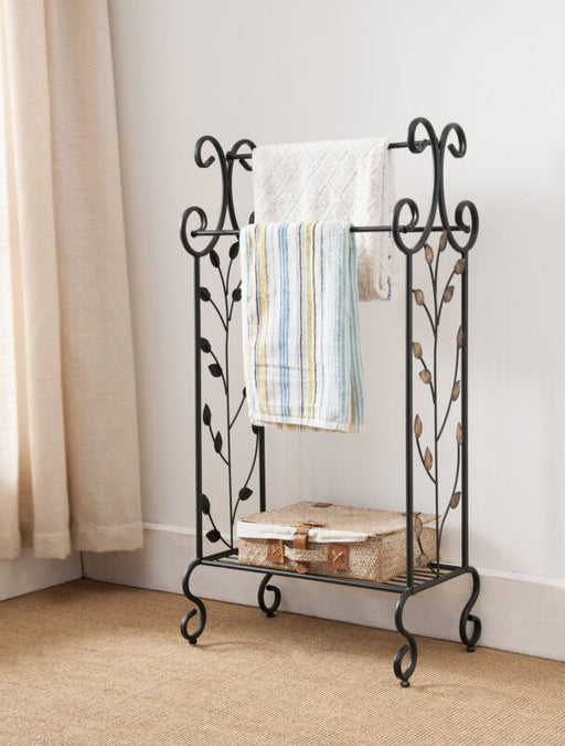 Black Metal With Gold Leaf Free Standing Towel Rack Stand with Shelf