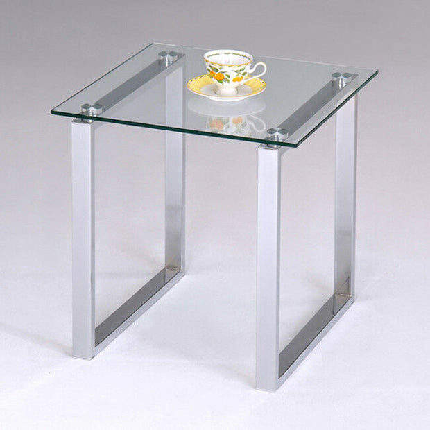Chrome Finish With Glass Top End Table