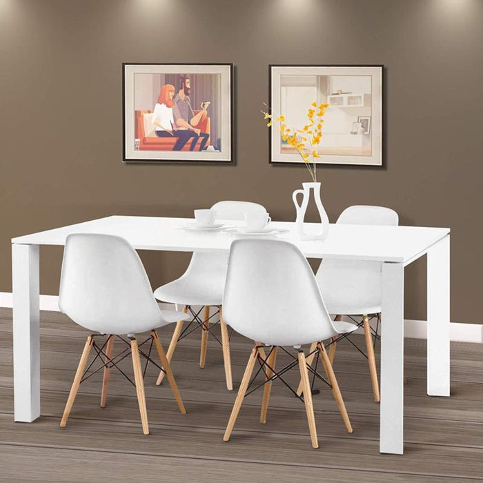 Set of 4 Modern Chairs-  Wood Legs - Toyzor.com