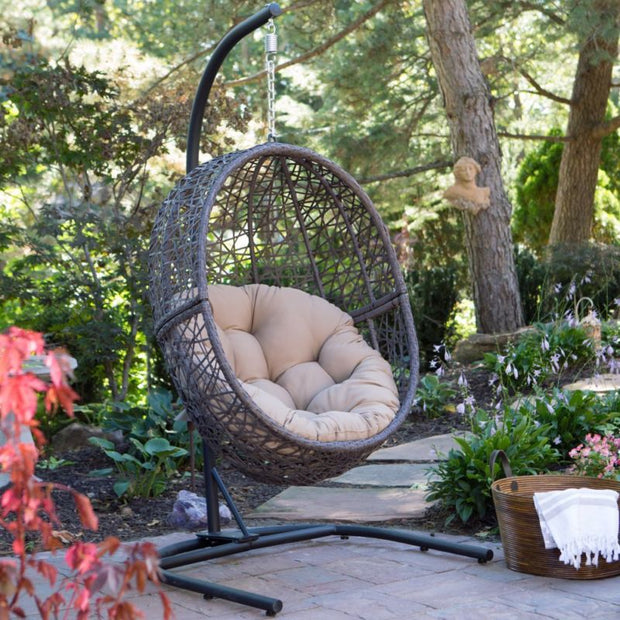 Indoor / Outdoor Hanging Egg Chair with Cushion and Stand - Toyzor.com