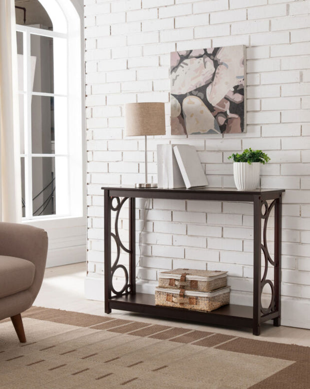 Cherry Finish Wood Entryway Console Sofa Table