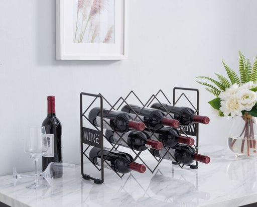 Pewter Metal Wine Storage Rack Bottle Holder