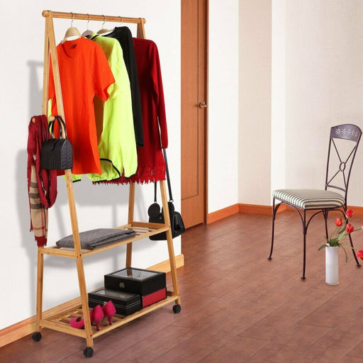 Bamboo Clothes Garment Rack with 2-Tier Storage Shelves for Bedroom Entryway