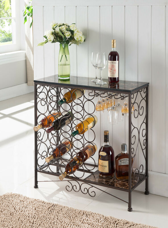Metal With Marble Finish Top Console Table With Wine Rack