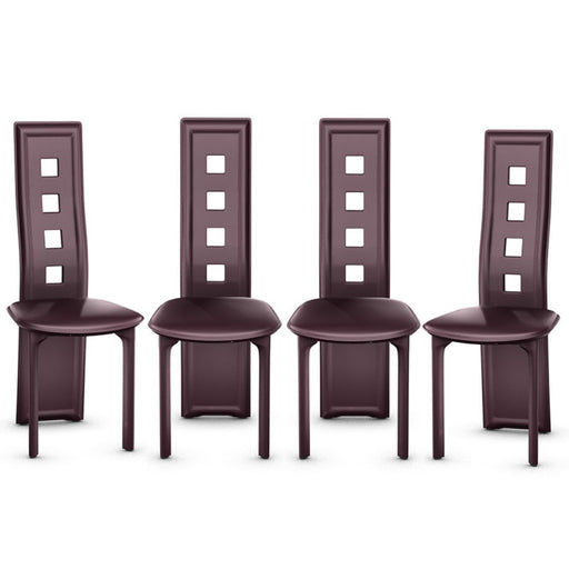 Set of 4 Dining Chairs Steel Frame High Back Armless