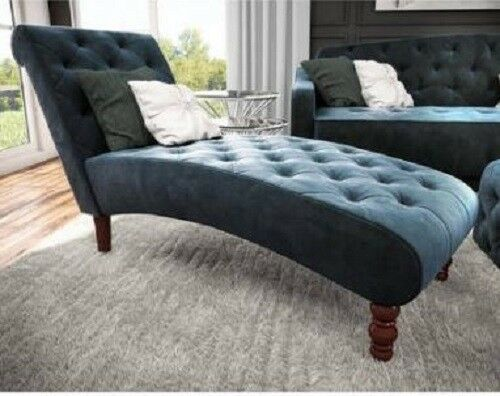 Awesome Tufted Blue Velvet Upholstery Fainting Couch Chaise Lounge Chair Onthecornerstone Fun Painted Chair Ideas Images Onthecornerstoneorg