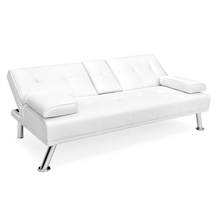 Faux Leather Convertible Futon / Sofa Bed with 2 Cup Holders - Toyzor.com