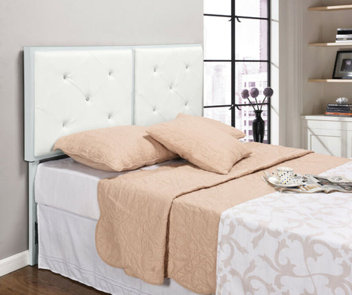 White Metal Queen Size Tufted Design Upholstered Headboard