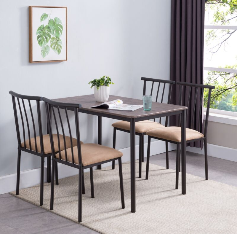 5-Piece Wood / Metal Dining Set, Table & 4 Chairs