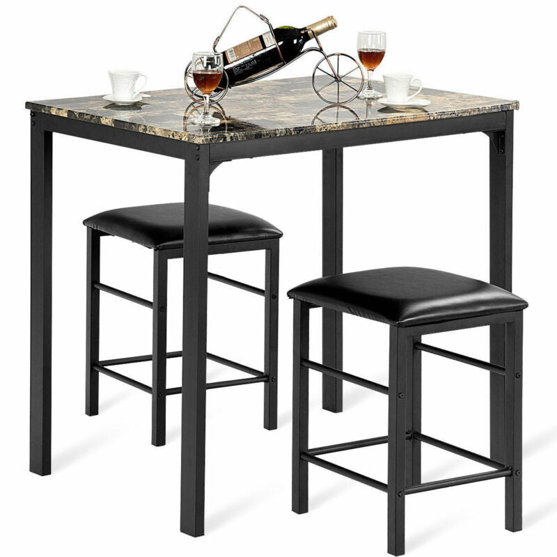 3 PCS  Faux Marble Table Counter Height Dining Set w/ 2 Chairs