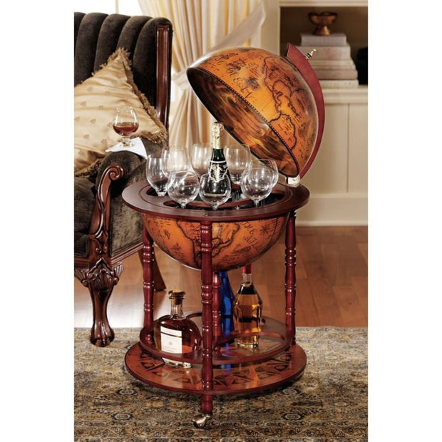 Vintage Globe Bar Wine Glass Bottle Rack Cabinet Rolling Cart