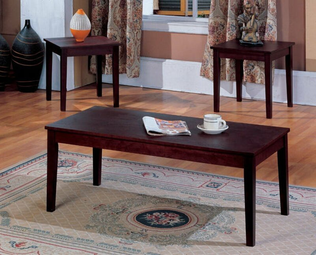 Cherry Finish Wood Coffee Table & 2 End Tables Occasional Set of 3