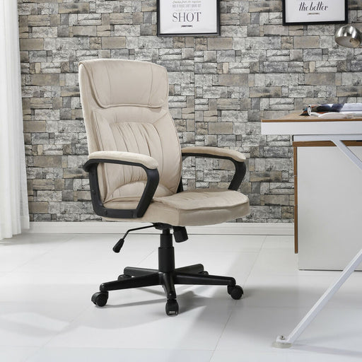 Executive Seat Ergonomic Padded Microfiber Chair (Beige)