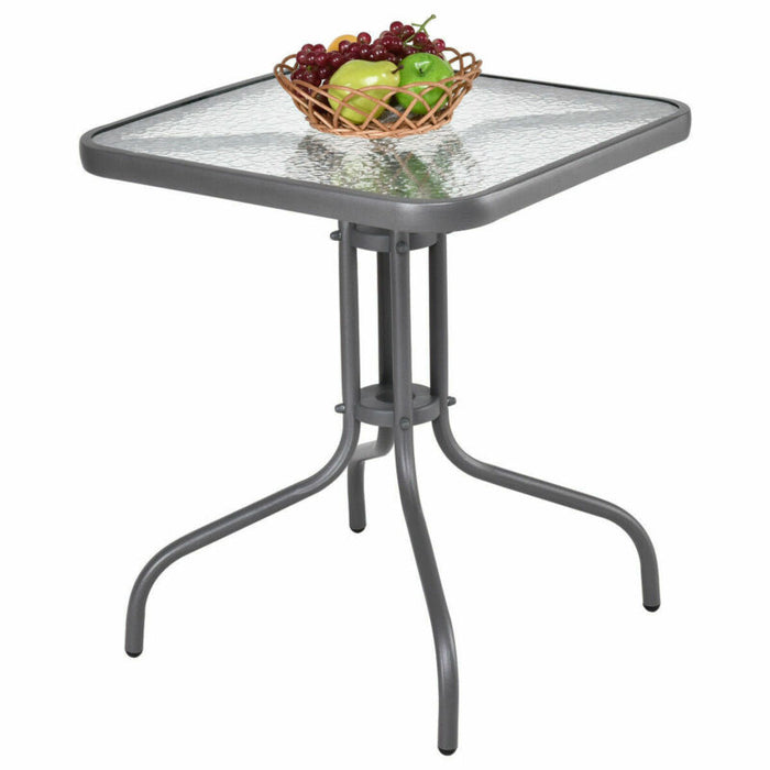 Glass Top Patio Square Table Steel Frame Dining Table