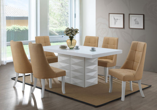 7 Piece White Modern Dinette Dining Room Table with Yellow Chairs