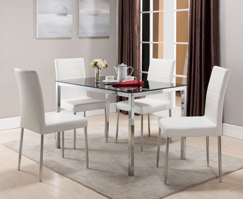 Glass/Chrome Dining Kitchen Table with 4 Upholstered Chairs