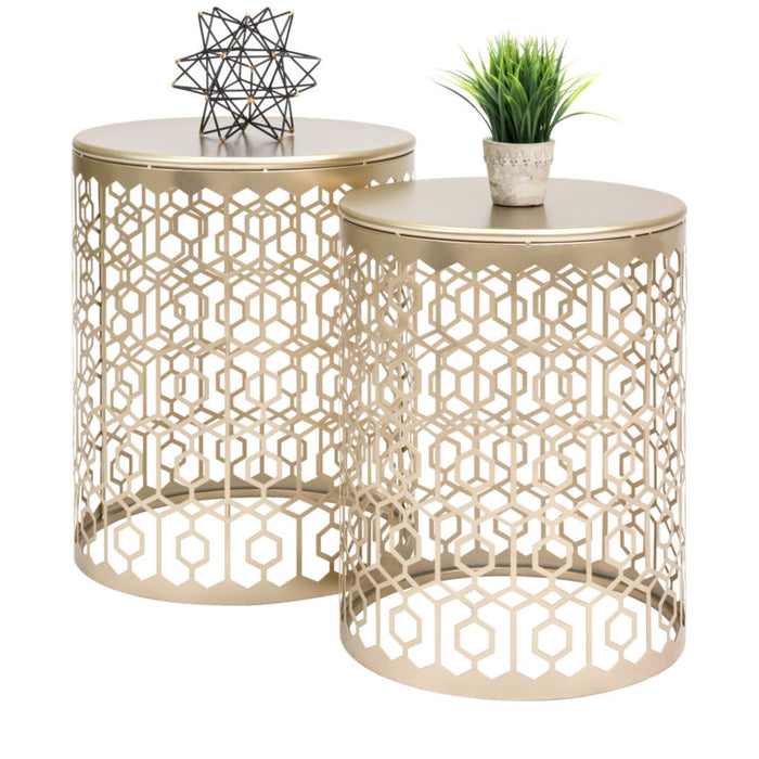 Gold Decorative Round Side Accent Table Nightstands
