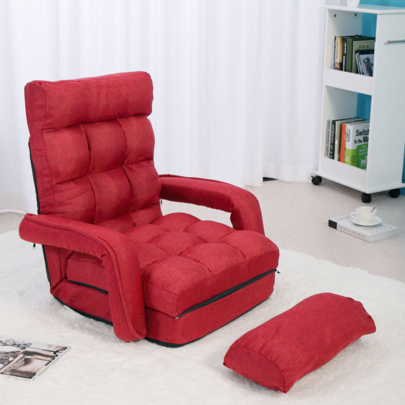 Folding Floor Chair Lazy Sofa & Gaming Chair - Adjustable 5-Position Red / Blue - Toyzor.com