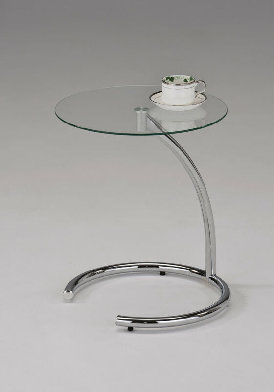 Chrome with Glass Modern Accent Side End Table