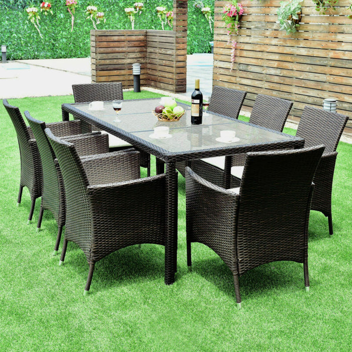 Set of 9 Brown Rattan Dining Table & Chairs Cushions Patio Furniture