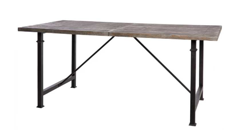 Seats 6 Desk Distressed Wood Metal Legs Planked Top Kitchen Rustic Dining Table