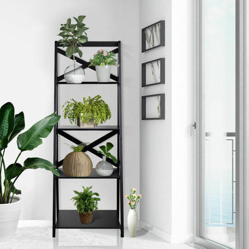 4-Tier Ladder Shelf Bookshelf Bookcase Storage