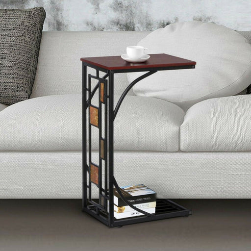 C Shaped Small Narrow End Side Chairside Table